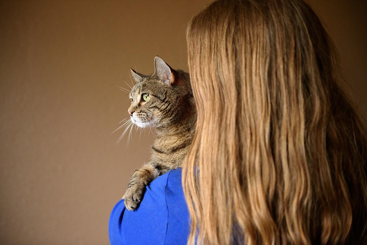 Cat looking over woman's shoulder