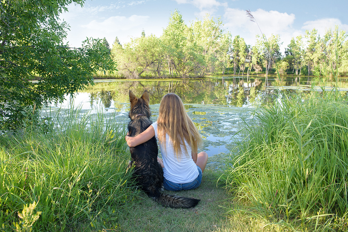 German Shepherd and woman by lake