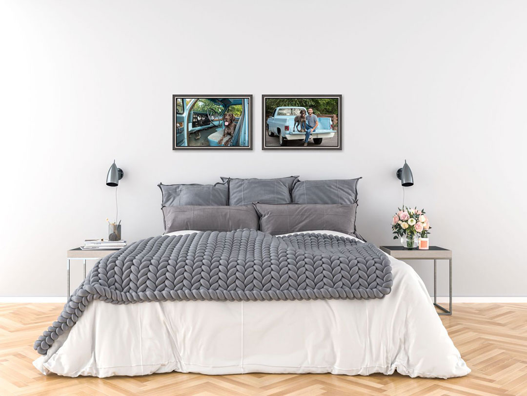 Two framed photos on bedroom wall